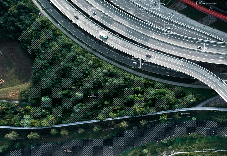 Autobahnausfahrt Uetlibergtunnel mit Sicht auf den Zürichsee und die beiden Seeufer (© Felix Oertle, Zürich)